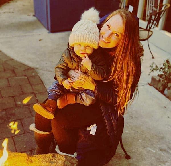 Image of Mina Starsiak Hawk with her son Jack Richard Hawk