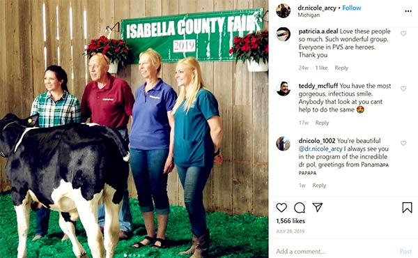 Image of Caption: Dr. Nicole posted a photos with caption I saw tons of animals, treated a few animals, bought a few animals to support the kids and 4H, met up with some awesome fans, and had a blast!