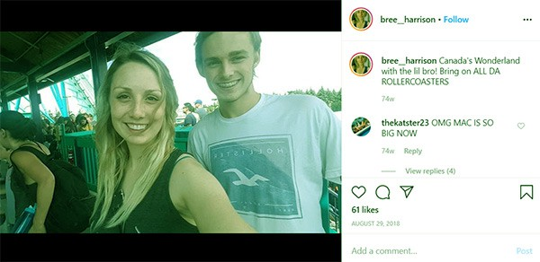Image of Caption: Bree Harrison with her brother Mack