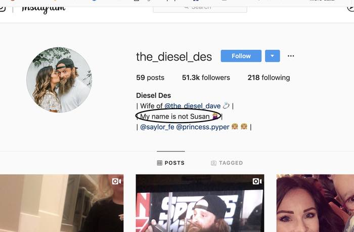 Diesel Dave's wife name is not Susan