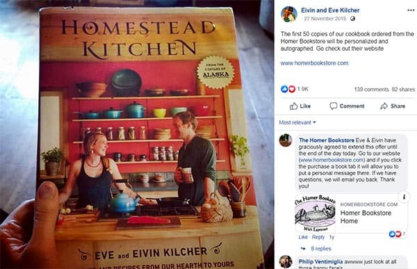 """Image of Caption: Eivin and Eve co-authored a cookbook named """"Homestead Kitchen"""