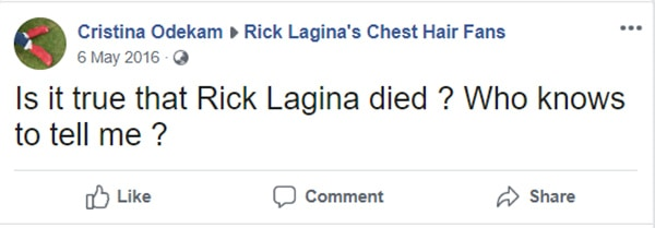 Image of Caption: Rick fan asked questions on his fan-made facebook