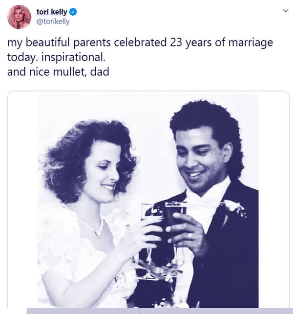 Image of Caption: Tori Kelly post a picture of her parents celebrating 23 years of marriage