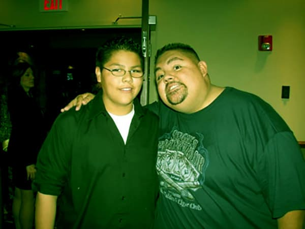 Image of Caption: Frankie with his step father Gabriel Iglesias