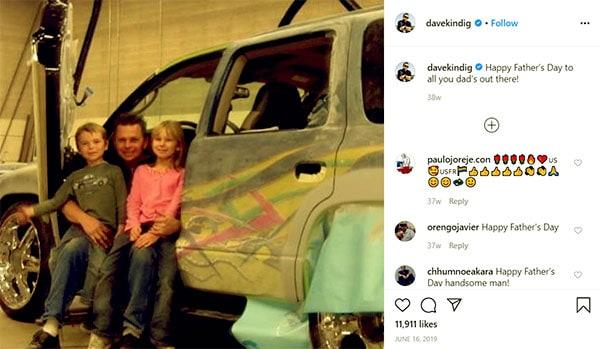 Image of Caption: Dave Kindig with his kids Baylee Kindig (daughter) and Drew Kindig (son)