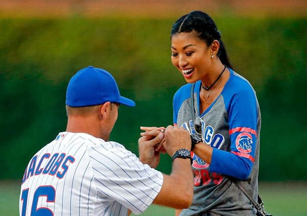 Image of Chris Jacobs proposing Ivy Teves with diamond ring