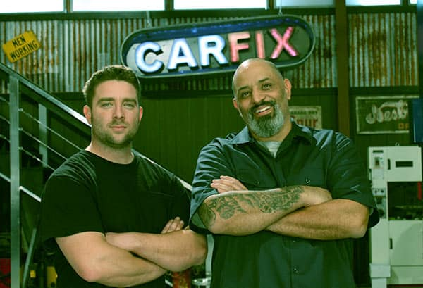 Image of Jared Zimmerman with Lou Santiago from TV show, Car Fix