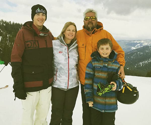 Image of Hunter Fieri with his father Guy and mother Lori along with his brother Ryder Fieri