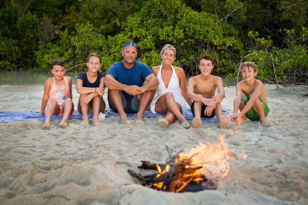 Bray Baeumleron with his family on Renovation Island
